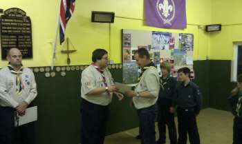 Trevor presented with Wood Badge
